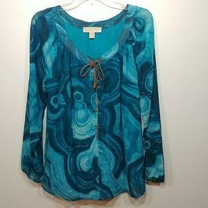 Michael Michael Kors Long Sleeve Blue Blouse Med